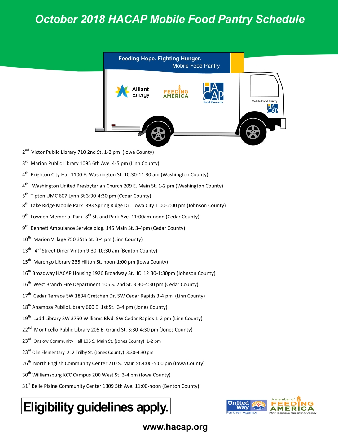 October 2018 Monthly Mobile Pantry Flyer